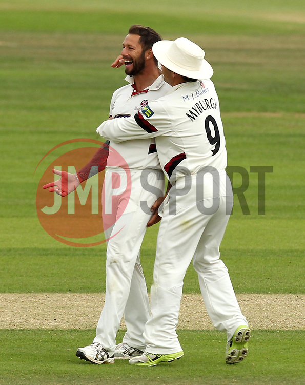 Somerset's Peter Trego celebrates taking the wicket of Hampshire's Michael Carberry with Somerset's Johann Myburgh - Photo mandatory by-line: Robbie Stephenson/JMP - Mobile: 07966 386802 - 23/06/2015 - SPORT - Cricket - Southampton - The Ageas Bowl - Hampshire v Somerset - County Championship Division One