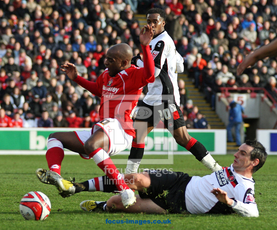 Barnsley - Saturday 21st February 2009 : Jamal Campbell-Ryce of Barnsley & Matthew Spring of Charlton Athletic in action during the Coca Cola Championship match at Oakwell, Barnsley. (Pic by Steven Price/Focus Images)