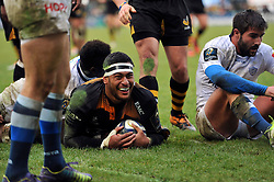 Nathan Hughes of Wasps is all smiles after scoring his team's second try - Photo mandatory by-line: Patrick Khachfe/JMP - Mobile: 07966 386802 14/12/2014 - SPORT - RUGBY UNION - High Wycombe - Adams Park - Wasps v Castres Olympique - European Rugby Champions Cup