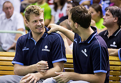Miha Zupan and Sasa Zagorac during friendly basketball match between National teams of Slovenia and Australia, on August 3, 2015 in Arena Tri lilije, Lasko, Slovenia. Photo by Vid Ponikvar / Sportida