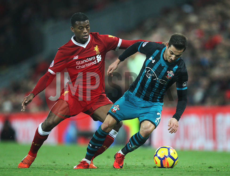 Georginio Wijnaldum of Liverpool (L) and Cedric Soares of Southampton in action - Mandatory by-line: Jack Phillips/JMP - 18/11/2017 - FOOTBALL - Anfield - Liverpool, England - Liverpool v Southampton - English Premier League