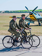 Members of a home guard re-enactor group on patrol - Duxford Battle of Britain Air Show at the Imperial War Museum. Also commemorating the 50th anniversary of the 1969 Battle of Britain film. It runs on Saturday 21 & Sunday 22 September 2019