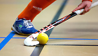 UTRECHT - Zaalhockey bal met stick. oefenwedstrijd van het Nederlands dames zaalhockeyteam tegen Australie. COPYRIGHT KOEN SUYK