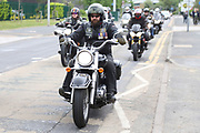 Rolling Thunder bikes arrive during the Soldier F Protest at Media City, Salford, United Kingdom on 18 May 2019.