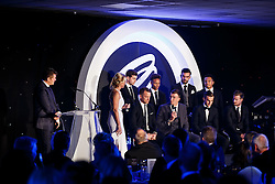 Bristol City players are interviewed on stage by Lisa Knights at Bristol Sport's Annual Gala Dinner at Ashton Gate Stadium - Mandatory byline: Rogan Thomson/JMP - 08/12/2015 - SPORT - Ashton Gate Stadium - Bristol, England.