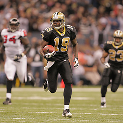 2008 December, 07: New Orleans Saints wide receiver Devery Henderson (19) on a catch and run during a 29-25 victory by the New Orleans Saints over NFC South divisional rivals the Atlanta Falcons at the Louisiana Superdome in New Orleans, LA.