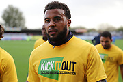 AFC Wimbledon midfielder Tom Soares (19) warming up during the EFL Sky Bet League 1 match between AFC Wimbledon and Plymouth Argyle at the Cherry Red Records Stadium, Kingston, England on 21 October 2017. Photo by Matthew Redman.