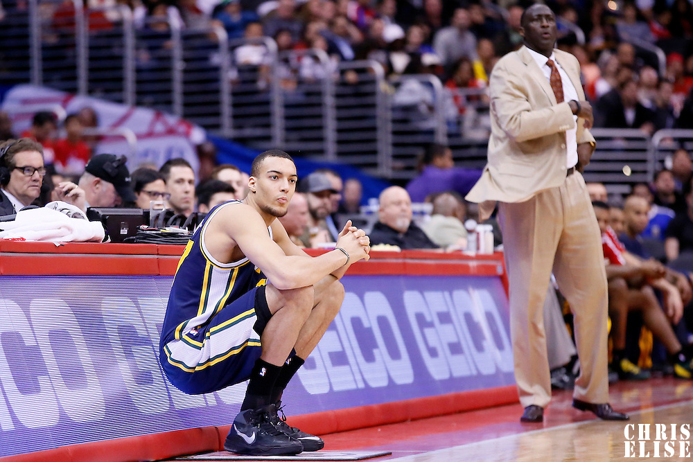 01 February 2014: Utah Jazz center Rudy Gobert (27) is seen during the Los Angeles Clippers 102-87 victory over the Utah Jazz at the Staples Center, Los Angeles, California, USA.