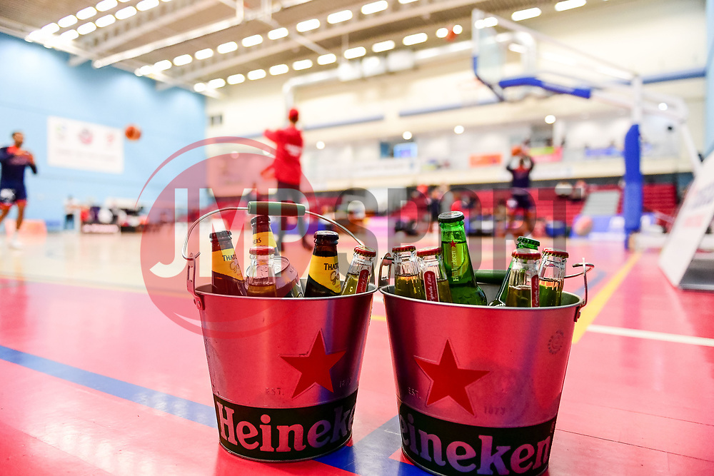 Heinken buckets with Thatchers and Coke in them courtside - Photo mandatory by-line: Ryan Hiscott/JMP - 15/11/2019 - BASKETBALL - SGS Wise Arena - Bristol, England - Bristol Flyers v London City Royals - British Basketball League Cup