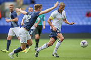 Paul Gallagher (Preston North End) tries to block the run of Darren Pratley (Bolton Wanderers) during the Pre-Season Friendly match between Bolton Wanderers and Preston North End at the Macron Stadium, Bolton, England on 30 July 2016. Photo by Mark P Doherty.