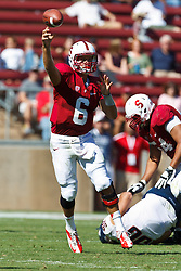 PALO ALTO, CA - OCTOBER 06: Quarterback Josh Nunes #6 of the Stanford Cardinal passes the ball against the Arizona Wildcats during the third quarter at Stanford Stadium on October 6, 2012 in Palo Alto, California. The Stanford Cardinal defeated the Arizona Wildcats 54-48 in overtime. (Photo by Jason O. Watson/Getty Images) *** Local Caption *** Josh Nunes