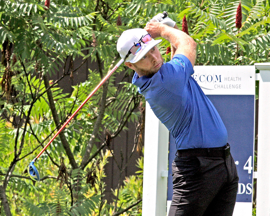 Jared Todd on the first tee during the LeCom Health Challenge Web.com PGA Tour at Peek n Peak July 8, 2017 photo by Mark L. Anderson
