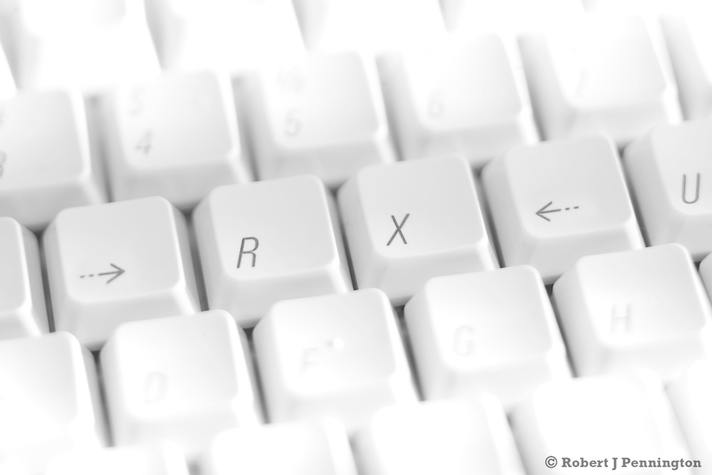 "White keyboard with the acronym ""RX"" spelled out."