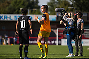 Carly Telford (GK) (Chelsea) talking with Ji So-Yun (Chelsea) following the FA Women's Super League match between Brighton and Hove Albion Women and Chelsea at The People's Pension Stadium, Crawley, England on 15 September 2019.