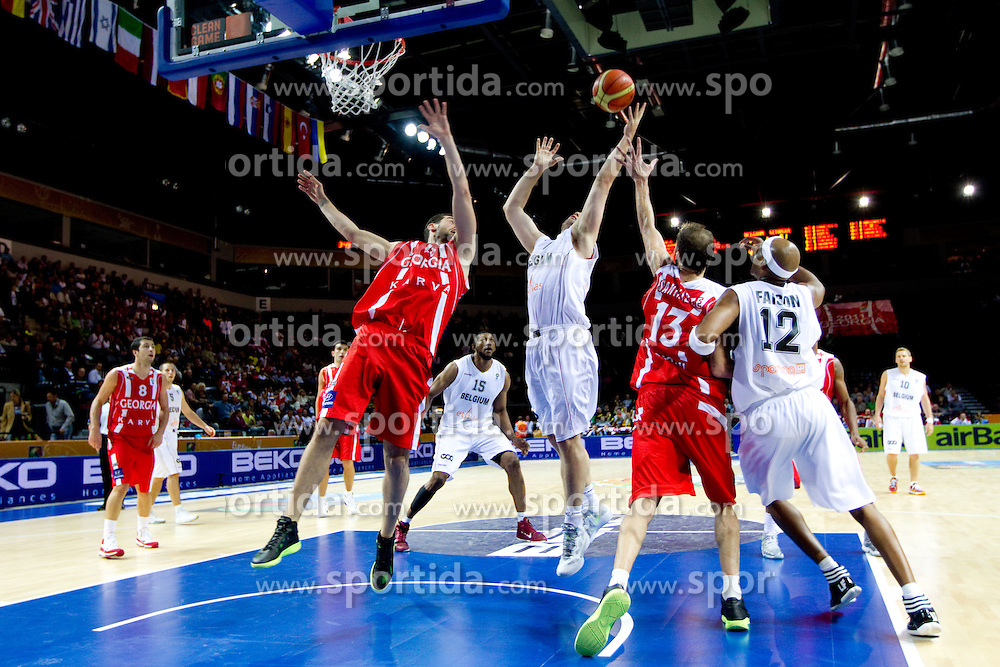 Nikoloz Tskitishvili of Georgia vs Christophe Beghin of Belgium during basketball match between National teams of Belgium and Georgia in Group D of Preliminary Round of Eurobasket Lithuania 2011, on August 31, 2011, in Arena Svyturio, Klaipeda, Lithuania. (Photo by Vid Ponikvar / Sportida)