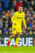Manu Morlanes (#28) of Villarreal CF during the Europa League group stage match between Rangers FC and Villareal CF at Ibrox, Glasgow, Scotland on 29 November 2018.