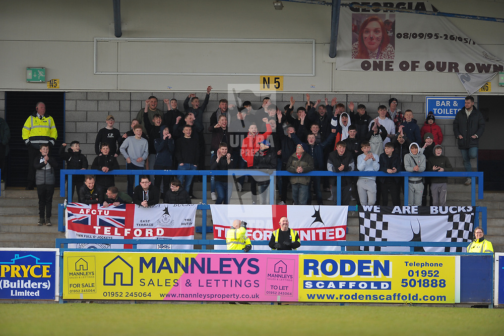 TELFORD COPYRIGHT MIKE SHERIDAN  Telford fans during the Vanarama Conference North fixture between AFC Telford United and Kettering at The New Bucks Head on Saturday, March 14, 2020.<br /> <br /> Picture credit: Mike Sheridan/Ultrapress<br /> <br /> MS201920-050