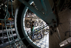 August 13, 2017 - Gaza City, The Gaza Strip, Palestine - A Palestinian man selling bicycles in a shop in Gaza City. (Credit Image: © Mahmoud Issa/Quds Net News via ZUMA Wire)