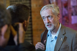 © Licensed to London News Pictures. 01/09/2015. London, UK. Jeremy Corbyn speaks to the press as he arrives at the Arcola Theatre in Dalston, east London this evening, where he launched his Vision for the future of the arts. Photo credit : Vickie Flores/LNP