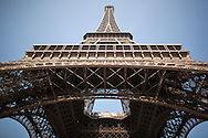 A view from underneath the Iconic Eiffel Tower in Paris