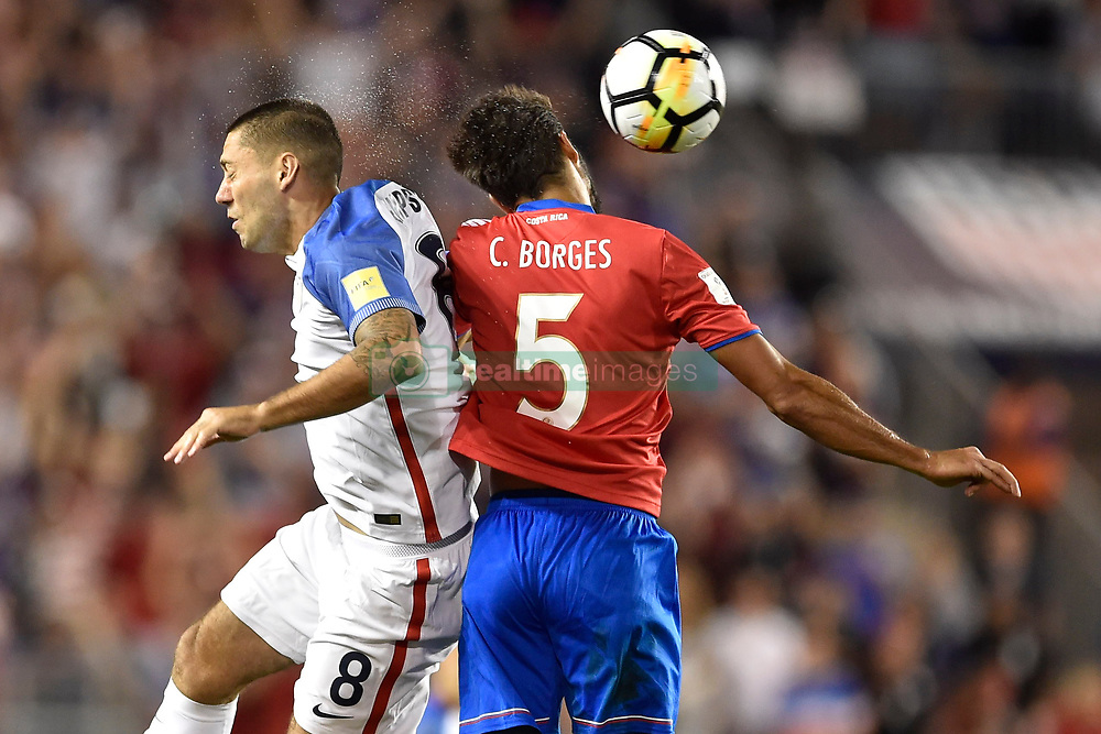 September 1, 2017 - Harrison, New Jersey, U.S - USMNT forward CLINT DEMPSEY (8) and Costa Rica midfielder CELSO BORGES (5) in action during a World Cup Qualifier at Red Bull Arena in Harrison New Jersey Costa Rica defeats USA 2 to 0 (Credit Image: © Brooks Von Arx via ZUMA Wire)
