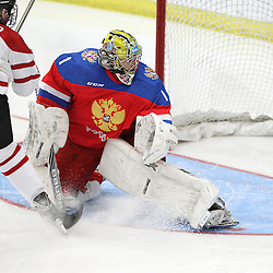 COBOURG, - Dec 19, 2015 -  Gold Metal Game - Russia vs Canada West at the 2015 World Junior A Challenge at the Cobourg Community Centre, ON. Goaltender Mikhail Berdin #1 of Team Russia follows the play during the second period.(Photo: Tim Bates / OJHL Images)