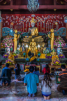 Bangkok, Thailand - December 29, 2013: people praying to buddha altar Wat Yai Chai Mongkhon Ayutthaya in Bangkok, Thailand on december 29th, 2013