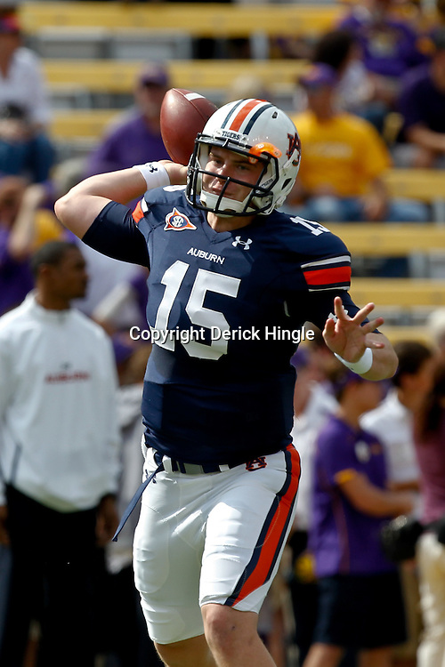 October 22, 2011; Baton Rouge, LA, USA;  Auburn Tigers quarterback Clint Moseley (15) prior to kickoff of a game against the LSU Tigers at Tiger Stadium.  Mandatory Credit: Derick E. Hingle-US PRESSWIRE / © Derick E. Hingle 2011