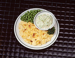 FOOD blue plate dinner special macaroni and cheese cole slaw green peas