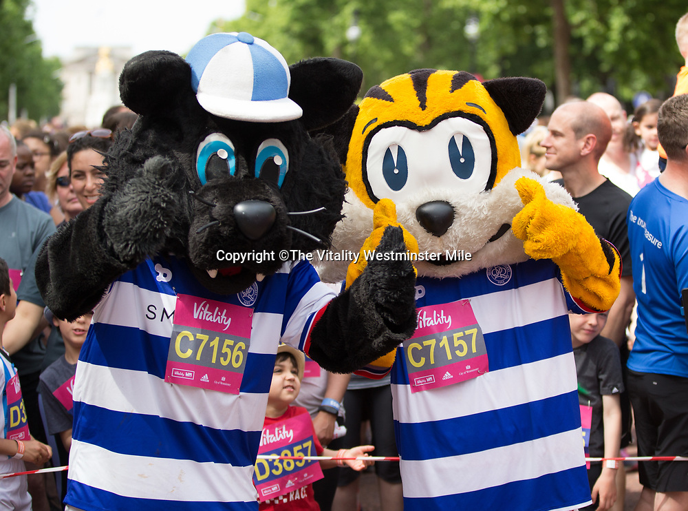 Mascots at the start of The Vitality Westminster Mile, Sunday 28th May 2017.<br /> <br /> Photo: Ben Queenborough for The Vitality Westminster Mile<br /> <br /> For further information: media@londonmarathonevents.co.uk