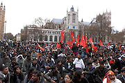 Crowds staged a sit down protest in Parliament square after protesting all night