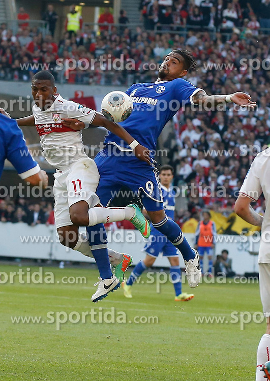 20.04.2014, Mercedes Benz Arena, Stuttgart, GER, 1. FBL, VfB Stuttgart vs Schalke 04, 31. Runde, im Bild Carlos Gruezo (VfB Stuttgart), Kevin-Prince Boateng (FC Schalke 04) // during the German Bundesliga 31th round match between VfB Stuttgart and Schalke 04 at the Mercedes Benz Arena in Stuttgart, Germany on 2014/04/20. EXPA Pictures &copy; 2014, PhotoCredit: EXPA/ Eibner-Pressefoto/ BW-FOTO<br /> <br /> *****ATTENTION - OUT of GER*****