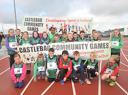 Castlebar Community Games team taking part in the parade at the Mayo Community Games finals in Claremorris on sunday last.<br /> Pic Conor McKeown