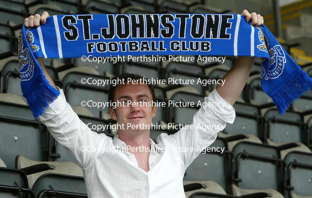 St Johnstone FC latest signing Michael Moore at McDiarmid Park this morning.   Michael has signed a three year deal with Saints.<br />see story by Gordon Bannerman Tel: 01738 553978 or 07729 865788<br />Picture by Graeme Hart.<br />Copyright Perthshire Picture Agency<br />Tel: 01738 623350  Mobile: 07990 594431