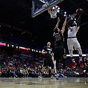 Durand Johnson, St. John's, shoots over Mindaugas Kacinas, South Carolina, during the St. John's vs South Carolina Men's College Basketball game in the Hall of Fame Shootout Tournament at Mohegan Sun Arena, Uncasville, Connecticut, USA. 22nd December 2015. Photo Tim Clayton
