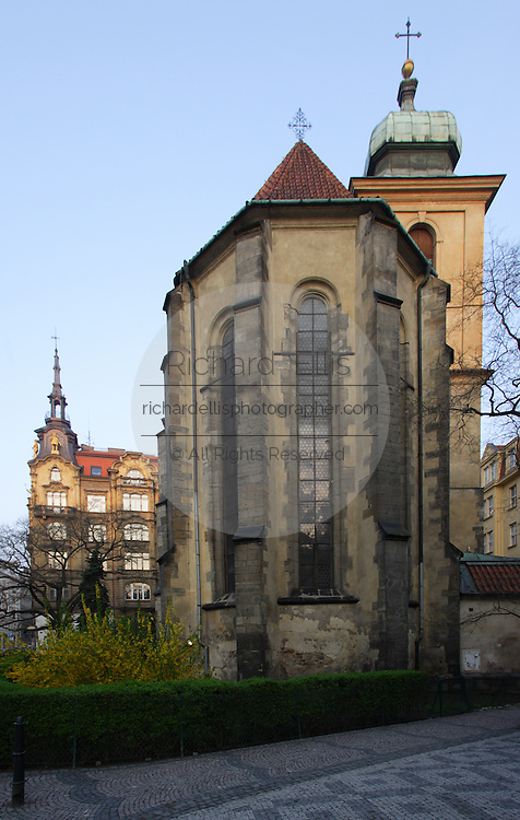 The Church of the Holy Ghost in the Jewish Quarter of Prague, Czech Republic. The Gothic church was built in the 14th century and once divided the Jewish communities of the middle ages.