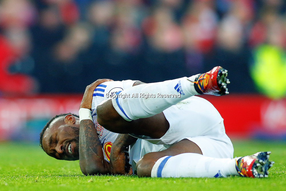26.11.2016. Anfield, Liverpool, England. Premier League Football. Liverpool versus Sunderland. Jermain Defoe of Sunderland lies injured after a heavy challenge