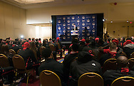 Kirby Smith from Marriott, welcomes the University of Maryland football team to the Renaissance Hotel in Washington, DC, where they will be staying for the Military Bowl. They will face East Carolina University in the Military Bowl on December 29, 2010. (Photo by Alan Lessig)