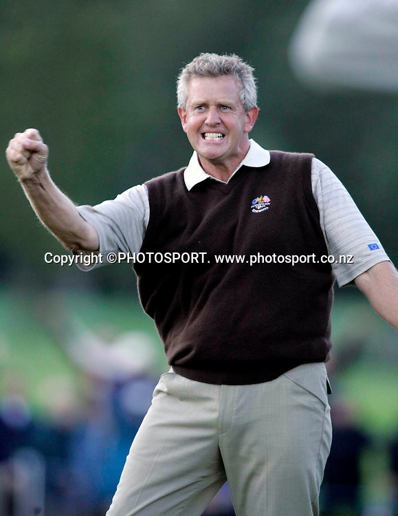 Ryder Cup Day One, K Club 22/9/2006<br /> Colin Montgomerie celebrates after he halved the match with America on the 18th.<br /> Mandatory Credit &copy;INPHO/Tom Honan<br /> RYDER CUP<br />  ***FOR EDITORIAL USE ONLY. NO USAGE FOR MOBILE PHONE OPERATORS**