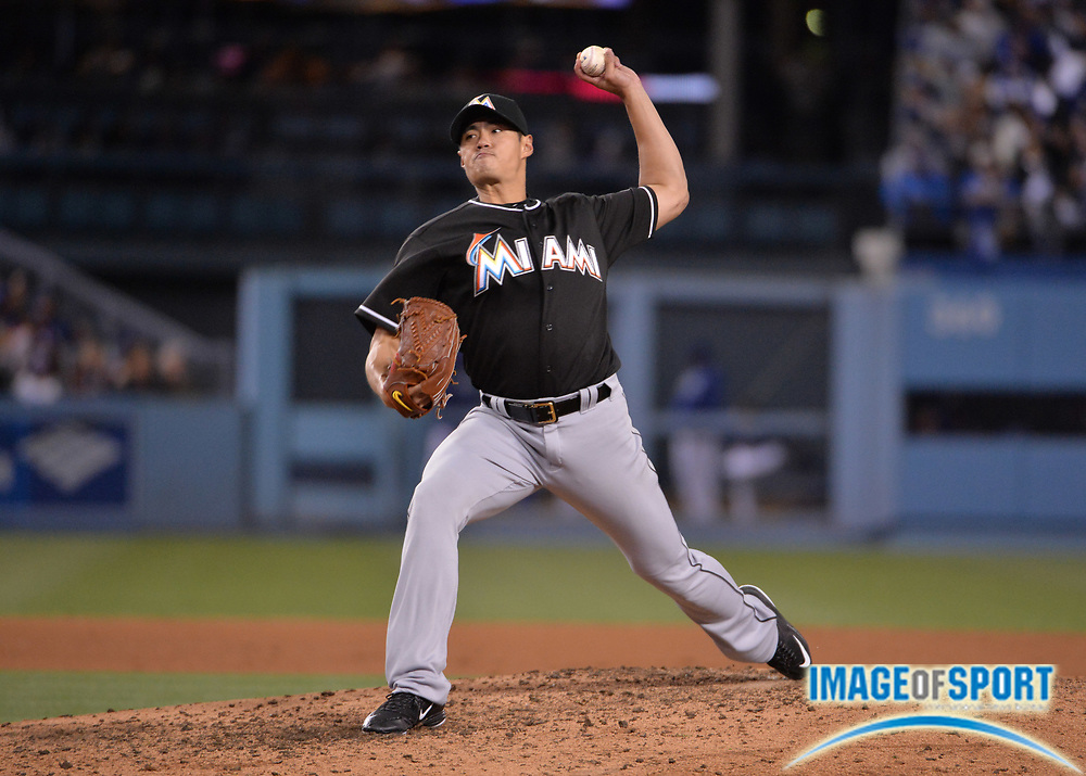 Apr 25, 2016; Los Angeles, CA, USA; Miami Marlins starting pitcher Wei-Yin Chen (54) delivers a pitch against the Los Angeles Dodgers during a MLB game at Dodger Stadium.