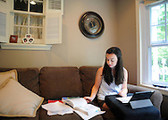 Emily Baus, 17, studies in her home Friday June 26, 2015 in Morrisville, Pennsylvania. Bus will be competing in the health care competition of the National Future Business Leaders of America in Chicago next week. (Photo by William Thomas Cain)