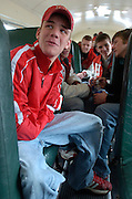 2006.02.02 HILLSBOROWRESTLER SPORTS : Hillsboro sophomore wrestler Dustin Carter rides the bus with his wrestling team on the way to their match at Amelia High School Thursday February 2, 2006. The Enquirer/Jeff Swinger