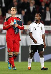 GER, Commerzbank Arena, GER, Stuttgart, FSP, LS, Deutschland (GER) vs Brasilien (BRA), im Bild .. Torwart Manuel Neuer (GER/FC Bayern München) und Cacao (GER/VFB Stuttgart) nach dem Spiel // durch the friendly ship between Germany (GER) vs Brasil (BRA) in Commerzbank Arena, Stuttgart, on 2011/08/11 EXPA Pictures © 2011, PhotoCredit: EXPA/ nph/  Hessland       ****** out of GER / CRO  / BEL ******