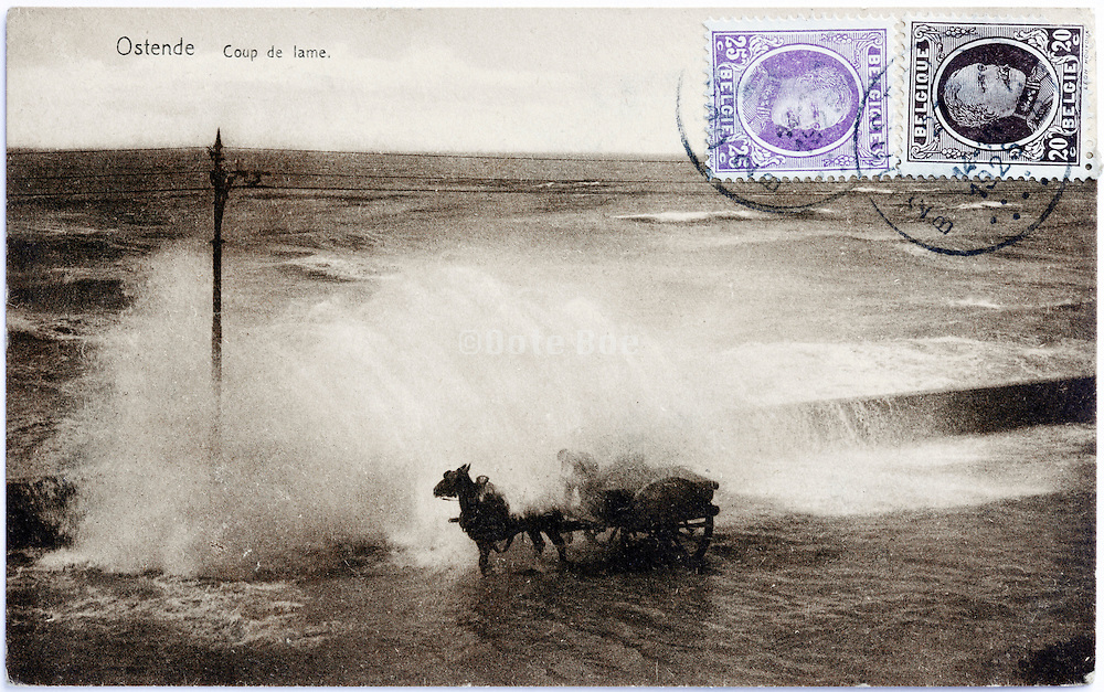 photo postcard with horse and cart hit by a large wave 1925