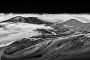 The moonscape of the Haleakala volcanic crater of Haleakala National Park on Maui