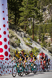 May 18, 2018 - Nevada, U.S - Friday, May 18, 2018.Three Team LottoNL-Jumbo (NED) teammates reach Daggett Summitt in front of Trek-Segafredo (USA) and Team Sky (GBR) riders, along Kingsbury Grade Rd., Nevada, near South Lake Tahoe during the sixth stage of the Amgen Tour of California. (Credit Image: © Tracy Barbutes via ZUMA Wire)