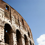 A panoramic view of The Colosseum, an elliptical amphitheatre in the centre of the city of Rome, Italy, the largest ever built in the Roman Empire. It is considered one of the greatest works of Roman architecture and Roman engineering. Rome, Italy. 23rd July 2011. Photo Tim Clayton