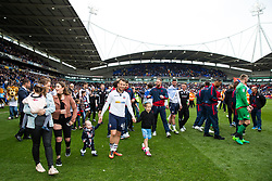Free to use courtesy of Sky Bet - Adam Le Fondre takes a lap of honor with his team as Bolton Wanderers celebrate finishing the season as Sky Bet League One runners up to secure automatic Promotion to the 2017/18 Sky Bet Championship - Rogan Thomson/JMP - 30/04/2017 - FOOTBALL - Macron Stadium - Bolton, England - Bolton Wanderers v Peterborough United - EFL Sky Bet League One.