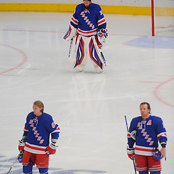May 16, 2012: New York Rangers left wing Carl Hagelin (62), goalie Henrik Lundqvist (30) and center Brad Richards (19) stand during the Star Spangled Banner prior to first period action in game 2 of the NHL Eastern Conference Finals between the New Jersey Devils and New York Rangers at Madison Square Garden in New York, N.Y.