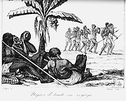 Slave convoy on the way to slave boat. Africa. Early 19th century. Copperplate engraving.
